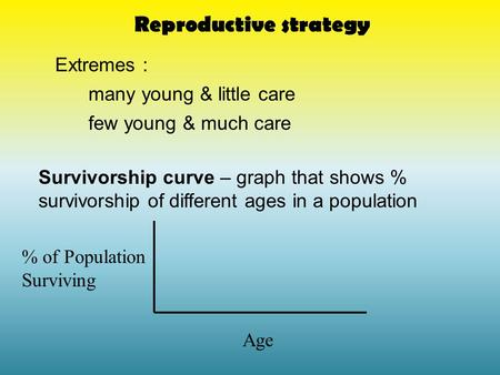 Reproductive strategy many young & little care Extremes : few young & much care Survivorship curve – graph that shows % survivorship of different ages.