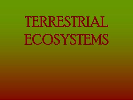 TERRESTRIAL ECOSYSTEMS TUNDRA Soil: moist, thin topsoil over permafrost, nutrient poor, slightly acidic Vegetation: mosses, lichens, dwarf wood plants.