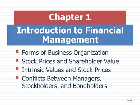 Introduction to Financial Management Chapter 1  Forms of Business Organization  Stock Prices and Shareholder Value  Intrinsic Values and Stock Prices.