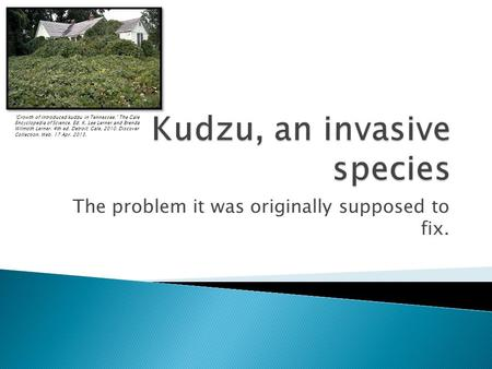 The problem it was originally supposed to fix. Growth of introduced kudzu in Tennessee. The Gale Encyclopedia of Science. Ed. K. Lee Lerner and Brenda.