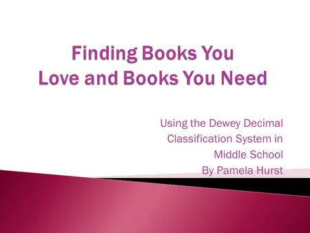 Using the Dewey Decimal Classification System in Middle School By Pamela Hurst.