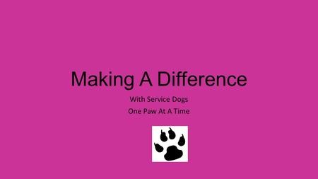 Making A Difference With Service Dogs One Paw At A Time.