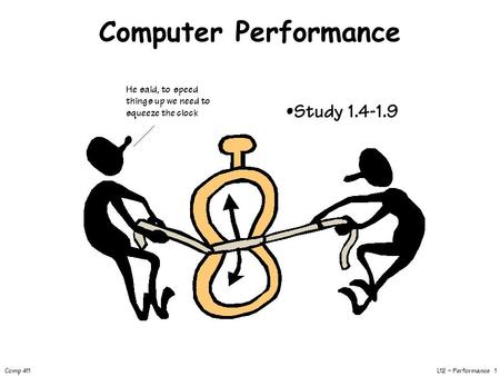 L12 – Performance 1 Comp 411 Computer Performance He said, to speed things up we need to squeeze the clock Study 1.4-1.9.
