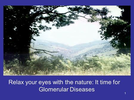 1 Relax your eyes with the nature: It time for Glomerular Diseases.