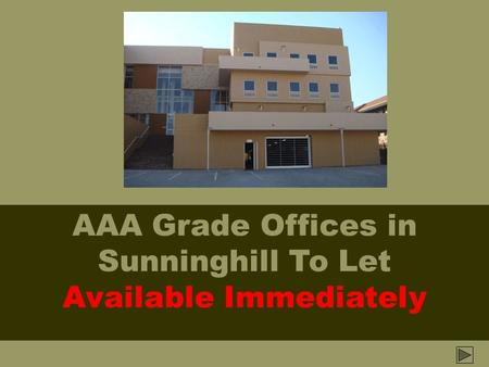 AAA Grade Offices in Sunninghill To Let Available Immediately.
