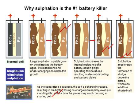 Why sulphation is the #1 battery killer Normal cell Large sulphation crystals grow on the plates as the battery ages. Hot conditions and under-charging.