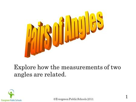 ©Evergreen Public Schools 2011 1 Explore how the measurements of two angles are related.