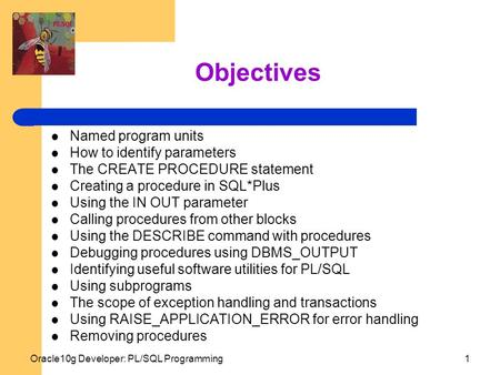 Oracle10g Developer: PL/SQL Programming1 Objectives Named program units How to identify parameters The CREATE PROCEDURE statement Creating a procedure.