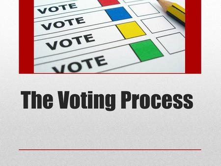 The Voting Process. What is voting? The process of making a decision between two or more candidates A candidate is a person who is running for a position.
