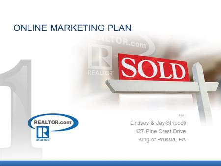 ONLINE MARKETING PLAN For : Lindsey & Jay Strippoli 127 Pine Crest Drive King of Prussia, PA.