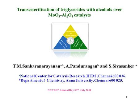Transesterification of triglycerides with alcohols over MoO 3 -Al 2 O 3 catalysts a National Center for Catalysis Research,IITM,Chennai 600 036. T.M.Sankaranarayanan.