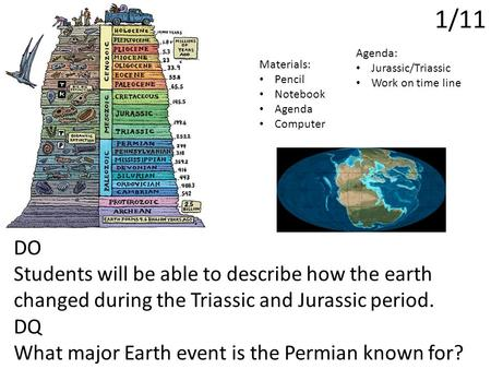 1/11 DO Students will be able to describe how the earth changed during the Triassic and Jurassic period. DQ What major Earth event is the Permian known.