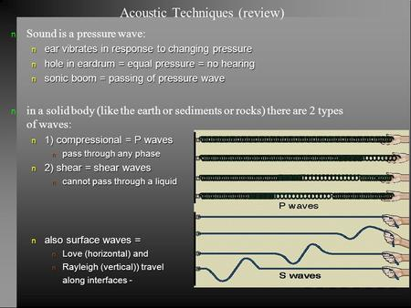 Acoustic Techniques (review) Sound is a pressure wave: n ear vibrates in response to changing pressure n hole in eardrum = equal pressure = no hearing.