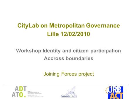 CityLab on Metropolitan Governance Lille 12/02/2010 Workshop Identity and citizen participation Accross boundaries Joining Forces project.