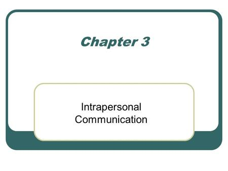 Chapter 3 Intrapersonal Communication. The communication that occurs within your own mind.