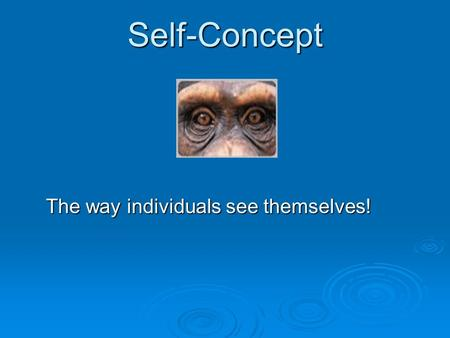 Self-Concept The way individuals see themselves!.