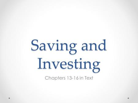 Saving and Investing Chapters 13-16 in Text. The Investment Pyramid.