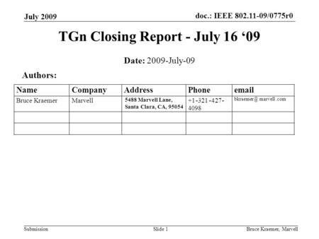 Doc.: IEEE 802.11-09/0775r0 Submission July 2009 Bruce Kraemer, MarvellSlide 1 TGn Closing Report - July 16 '09 Date: 2009-July-09 Authors: 5488 Marvell.
