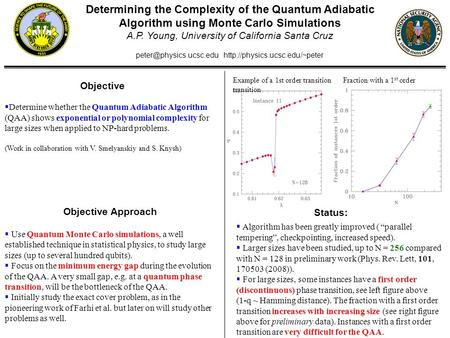 Determining the Complexity of the Quantum Adiabatic Algorithm using Monte Carlo Simulations A.P. Young, University of California Santa Cruz