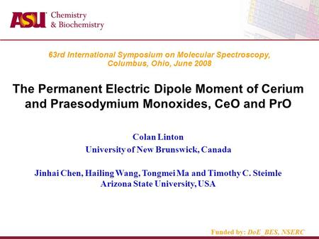 63rd International Symposium on Molecular Spectroscopy, Columbus, Ohio, June 2008 The Permanent Electric Dipole Moment of Cerium and Praesodymium Monoxides,