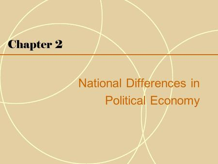 Chapter 2 National Differences in Political Economy.