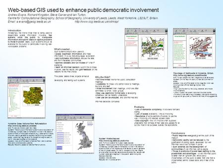 Web-based GIS used to enhance public democratic involvement Andrew Evans, Richard Kingston, Steve Carver and Ian Turton, Centre for Computational Geography,