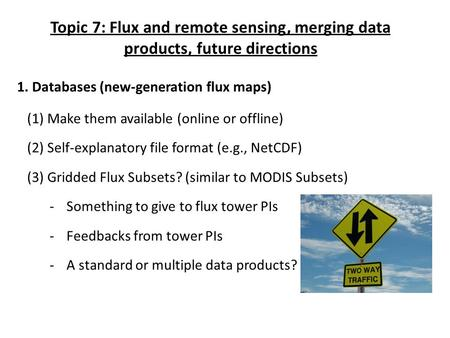 Topic 7: Flux and remote sensing, merging data products, future directions 1. Databases (new-generation flux maps) (1) Make them available (online or offline)
