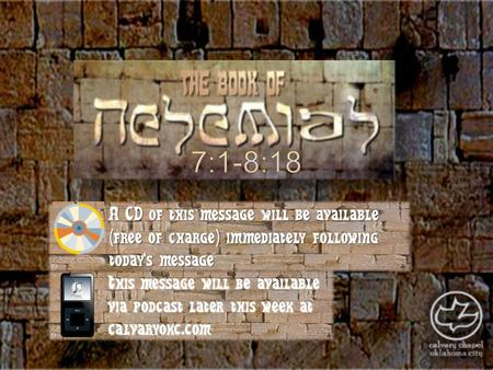 This message will be available via podcast later this week at calvaryokc.com A CD of this message will be available (free of charge) immediately following.