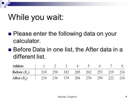 While you wait: Please enter the following data on your calculator. Before Data in one list, the After data in a different list. Bluman, Chapter 91.