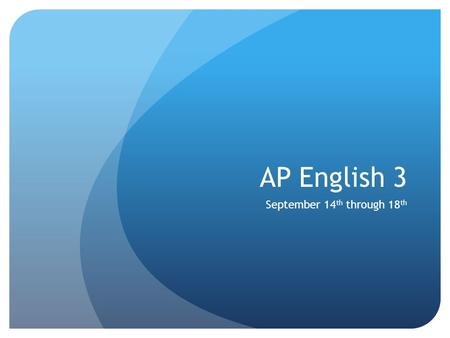 AP English 3 September 14 th through 18 th. Monday, September 14 th Opener Lit Circle Rubric Final Lit Circle Discussion Group.