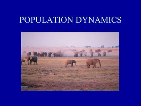 POPULATION DYNAMICS. MAJOR CHARACTERISTICS OF A POPULATION POPULATIONS ARE ALWAYS CHANGING: –size –density –dispersion - clumped, uniform, random –age.
