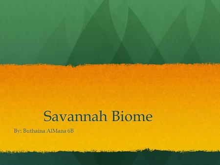 Savannah Biome By: Buthaina AlMana 6B. What is savannah? A savanna is grassland filled with shrubs and isolated trees. South America also has savannas,