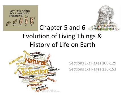 Chapter 5 and 6 Evolution of Living Things & History of Life on Earth Sections 1-3 Pages 106-129 Sections 1-3 Pages 136-153.