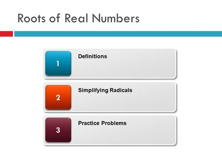 Roots of Real Numbers Definitions Simplifying Radicals