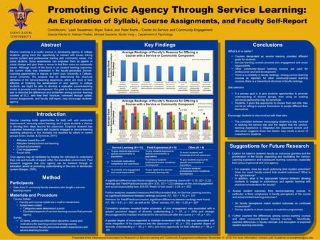 Abstract Service Learning is a useful avenue in developing agency in college students, giving them the opportunity to interact with issues linking course.