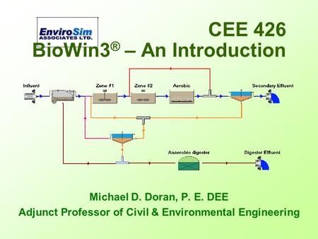 BioWin3 ® – An Introduction Michael D. Doran, P. E. DEE Adjunct Professor of Civil & Environmental Engineering CEE 426.