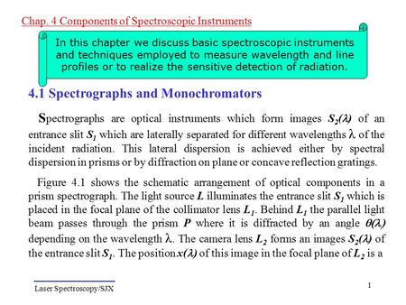 Laser Spectroscopy/SJX Chap. 4 Components of Spectroscopic Instruments 1 In this chapter we discuss basic spectroscopic instruments and techniques employed.