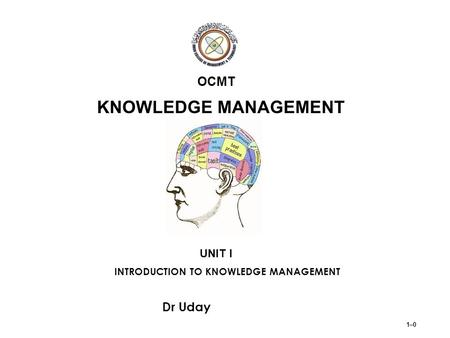 UNIT I - INTRODUCTION TO KNOWLEDGE MANAGEMENT Learning objectives