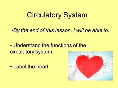 Circulatory System By the end of this lesson, I will be able to: Understand the functions of the circulatory system. Label the heart.