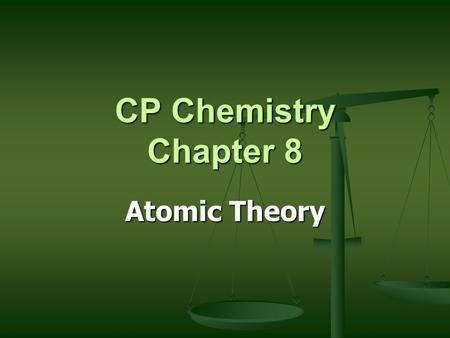 CP Chemistry Chapter 8 Atomic Theory Subatomic Particles Protons Protons Neutrons Neutrons Electrons Electrons.