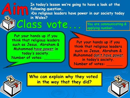 In today's lesson we're going to have a look at the following question…  Do religious leaders have power in our society today in Wales? have power Put.