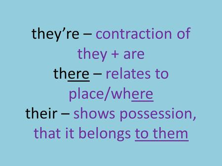 They're – contraction of they + are there – relates to place/where their – shows possession, that it belongs to them.