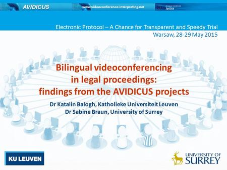 Www.videoconference-interpreting.net AVIDICUS Bilingual videoconferencing in legal proceedings: findings from the AVIDICUS projects Dr Katalin Balogh,