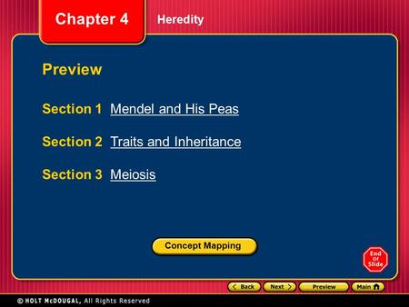 Preview Section 1 Mendel and His Peas Section 2 Traits and Inheritance
