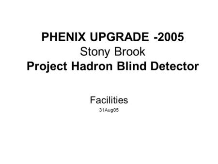 PHENIX UPGRADE -2005 Stony Brook Project Hadron Blind Detector Facilities 31Aug05.