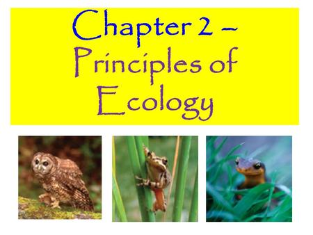 Chapter 2 – Principles of Ecology. 2.1 Organisms and Their Relationships.