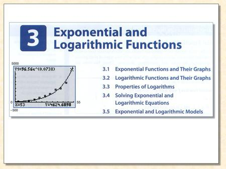 Exponential Growth Exponential Decay Example 1 Graph the exponential function given by Solution xy or f(x) 0 1 –1 2 –2 3 1 3 1/3 9 1/9 27.