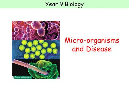 Year 9 Biology Micro-organisms and Disease. Year 9 Biology Task 1: Notes A disease is anything that causes your body to stop working properly One cause.