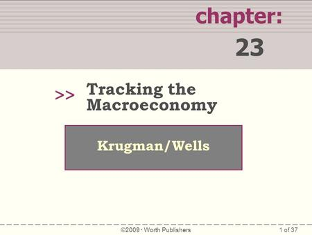 1 of 37 chapter: 23 >> Krugman/Wells ©2009  Worth Publishers Tracking the Macroeconomy.