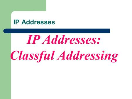 IP Addresses: Classful Addressing IP Addresses. INTRODUCTION 4.1.